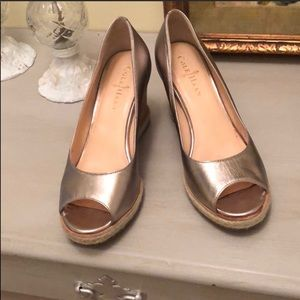 Cole Haan pewter open toe wedges (Size 6)